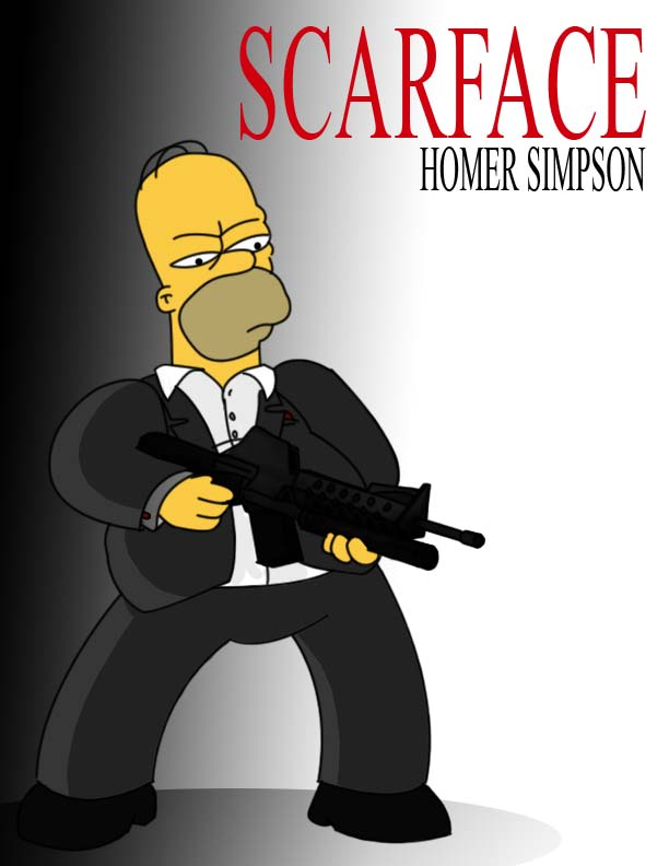 Homer simpson as SCARFACE by slothsart