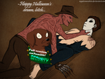Happy Halloween's Dream (Freddy x Michael Myers) by Sapphiresenthiss