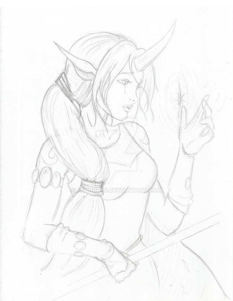 Soraka Sketch League of Legends by Reyndrys