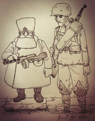 Proud Russian Sergeant and tired Infantryman by warman707