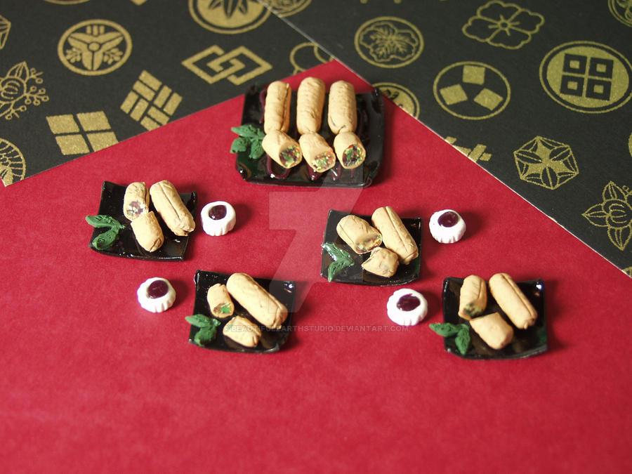 1:12 Scale Miniature Delux Egg Roll Platters by BeautifulEarthStudio