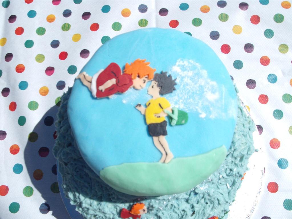 Ponyo cake- Ponyo and Sosuke by Sakurakate