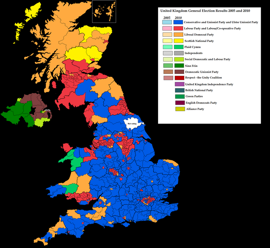 uk election result map 2010 by blamedthande