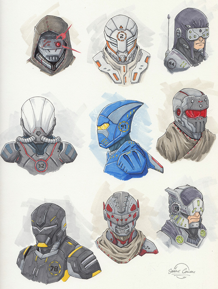 Mech heads by Cowl1ck