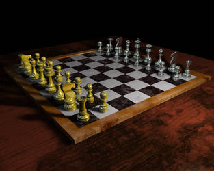 3d chess set chrome and gold by Edthegooseman