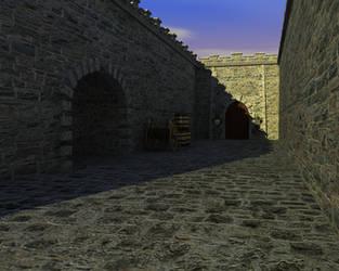 Medieval courtyard daylight by Edthegooseman