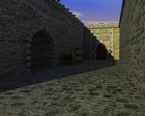 Medieval courtyard daylight