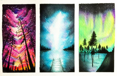 Color's night watercolor backgrounds  by clararuiz91