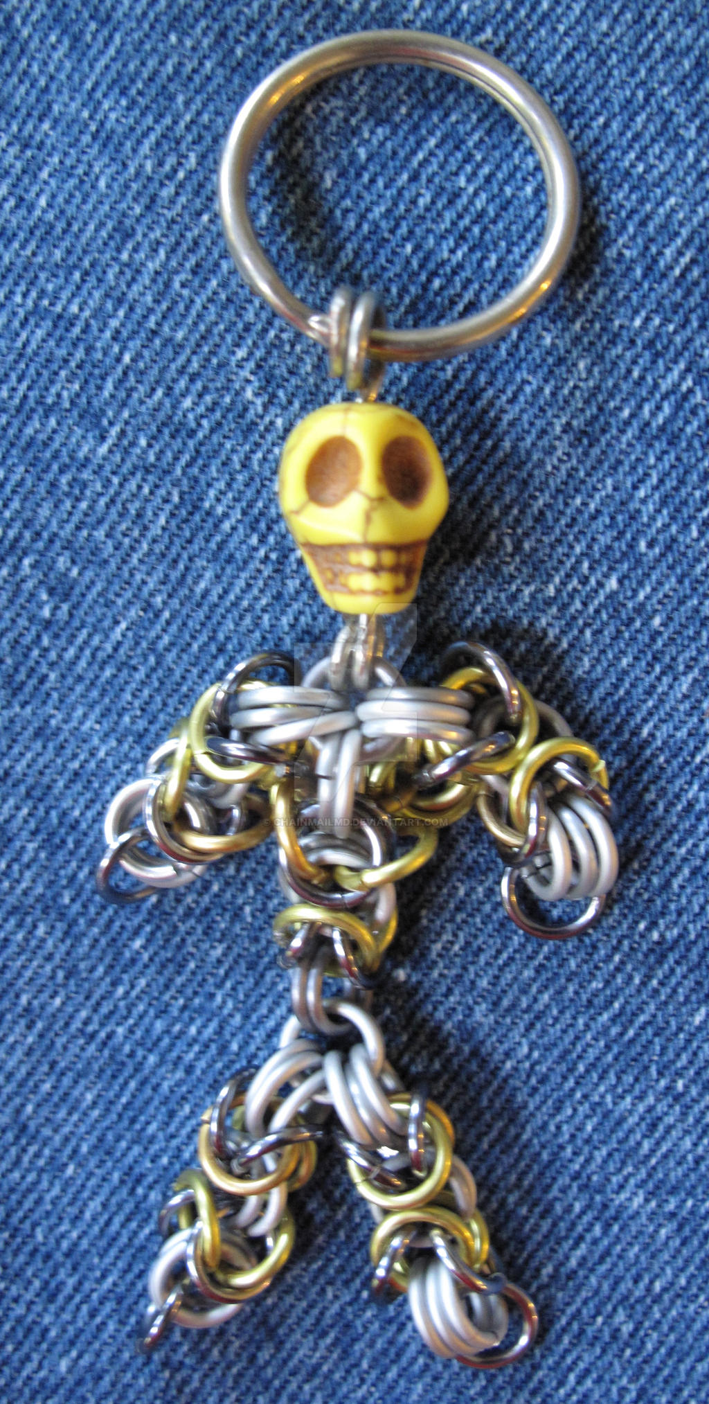 Handcrafted chain mail skeleton pendant keychain by chainmailmd handcrafted chain mail skeleton pendant keychain by chainmailmd mozeypictures Image collections