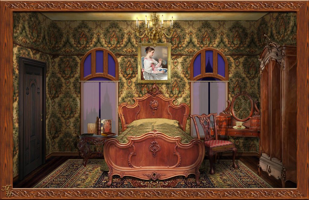 Victorian bedroom by ookamikasumi on deviantart for Victorian bedrooms images