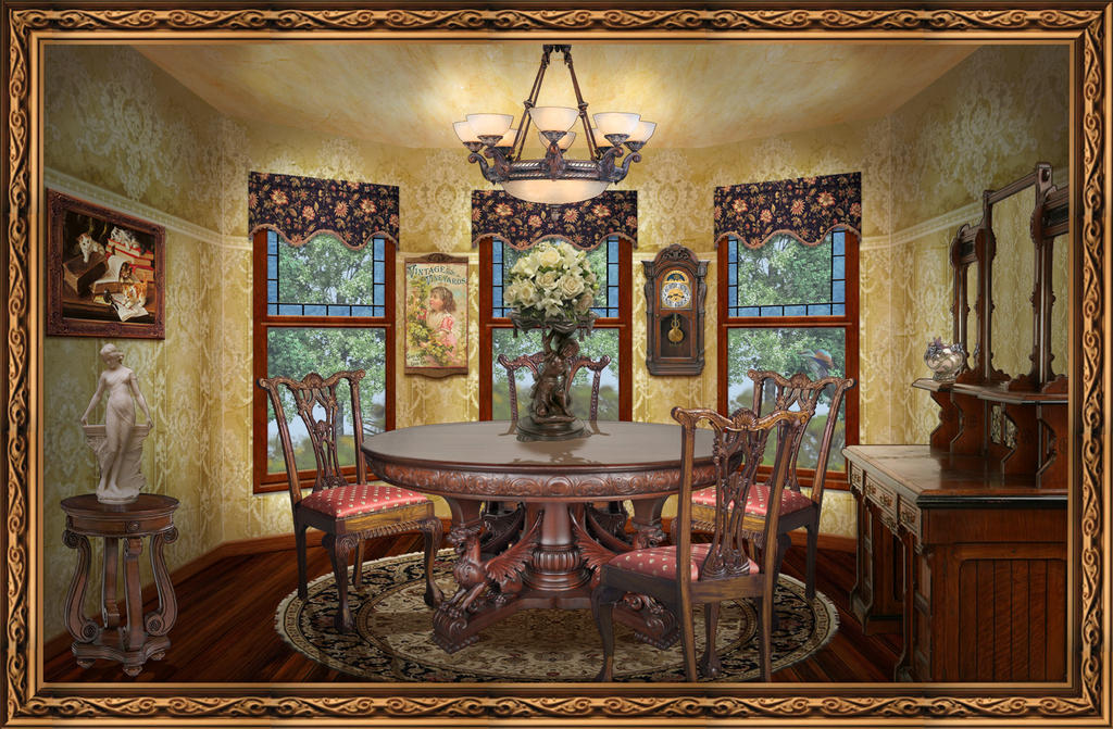 Victorian dining room by ookamikasumi on deviantart for Interior designs victorian style home furnishings