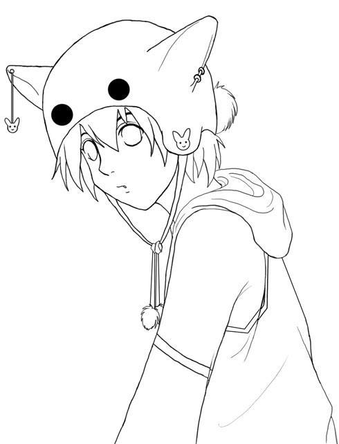 Lineart Anime Boy : Bunny boy lineart by penguinfreak on deviantart