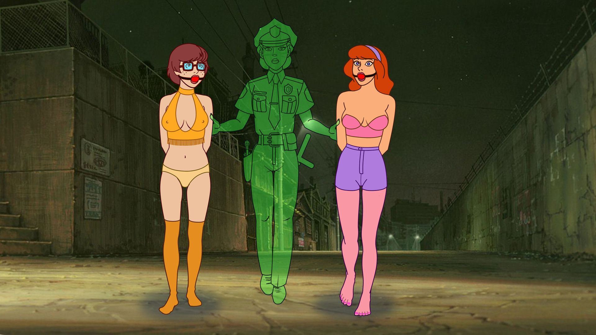 Daphne And Velma Arrested By The Ghost Cop B by VictorZulu