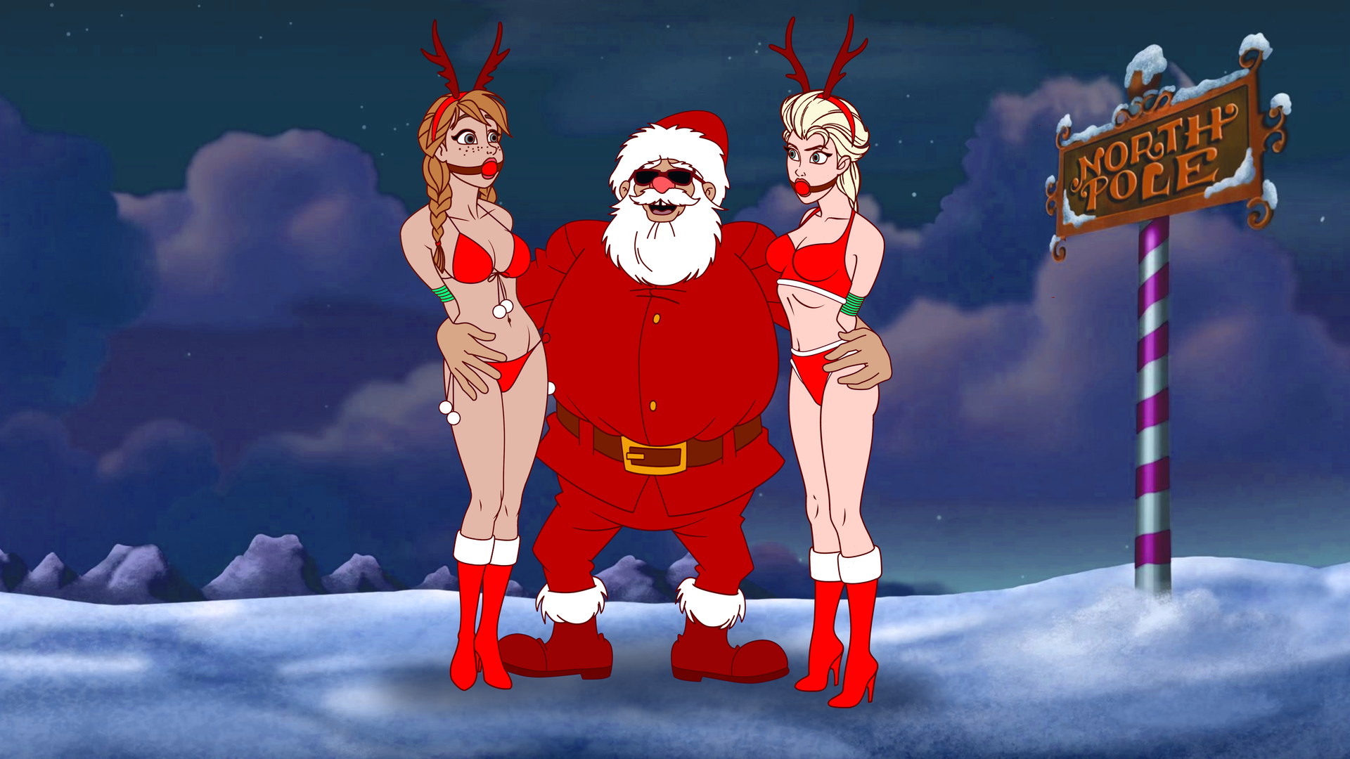 Naughty Girls Always Deal with Bad Santa by VictorZulu