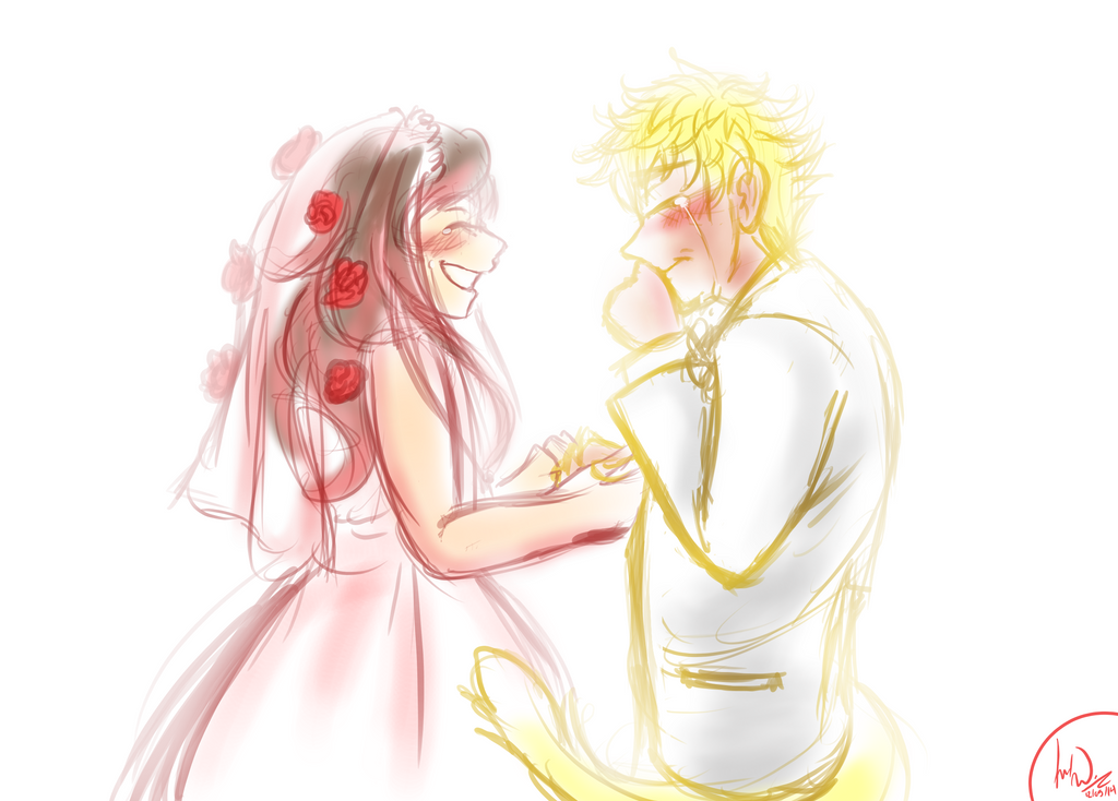 Ruby and Sun wedding Colored Sketch commission by AtsusaKaneytza