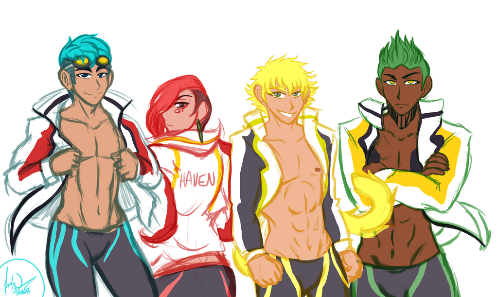 Haven Academy Swim Club Colored Sketch Commission by AtsusaKaneytza