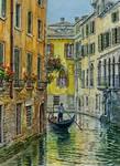 Sunlit Rio de San Moise, Venice
