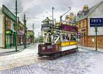 Tram leaving 1900's town, Beamish Museum.