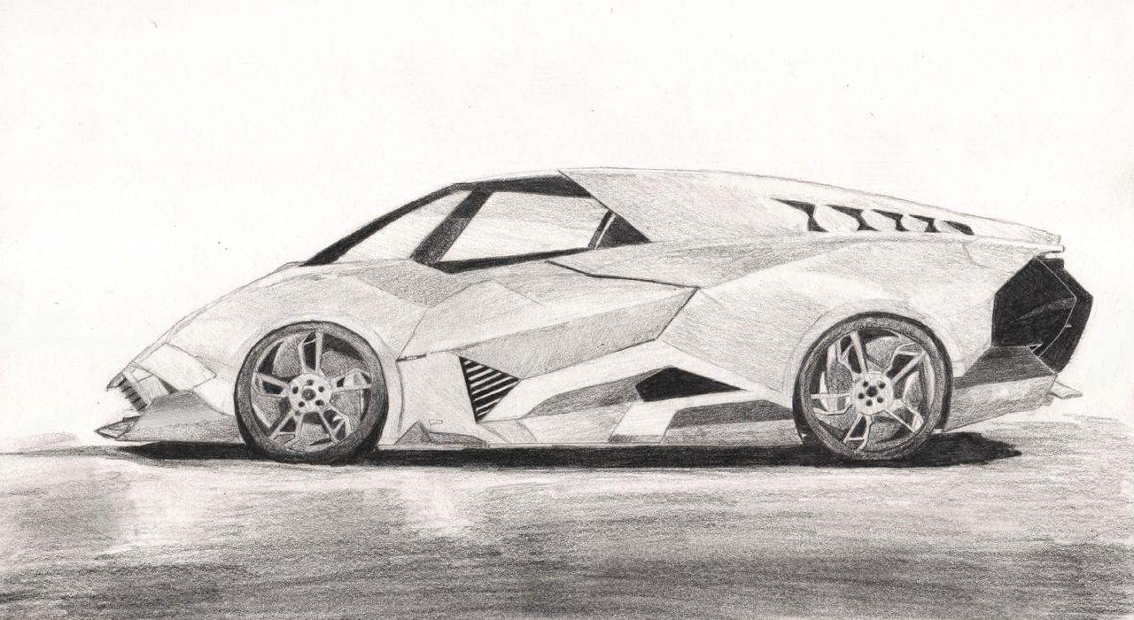 lamborghini egoista by ji zon on deviantart - Lamborghini Black And White Drawing