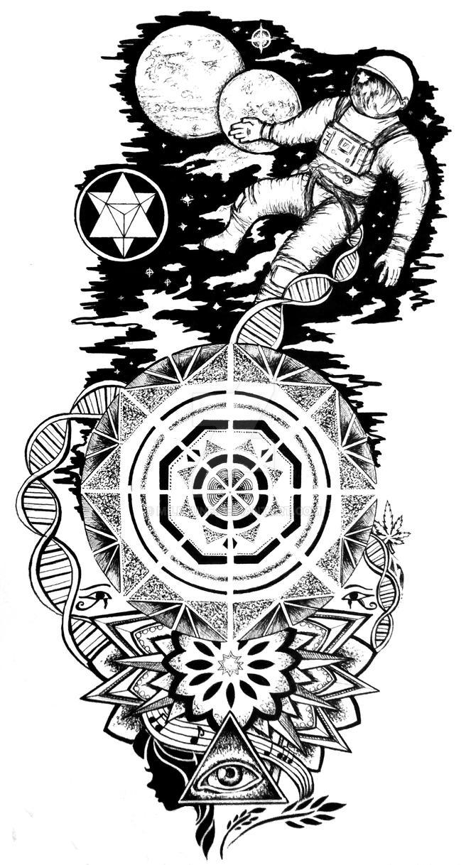 astronaut tattoo design by miletune on deviantart. Black Bedroom Furniture Sets. Home Design Ideas