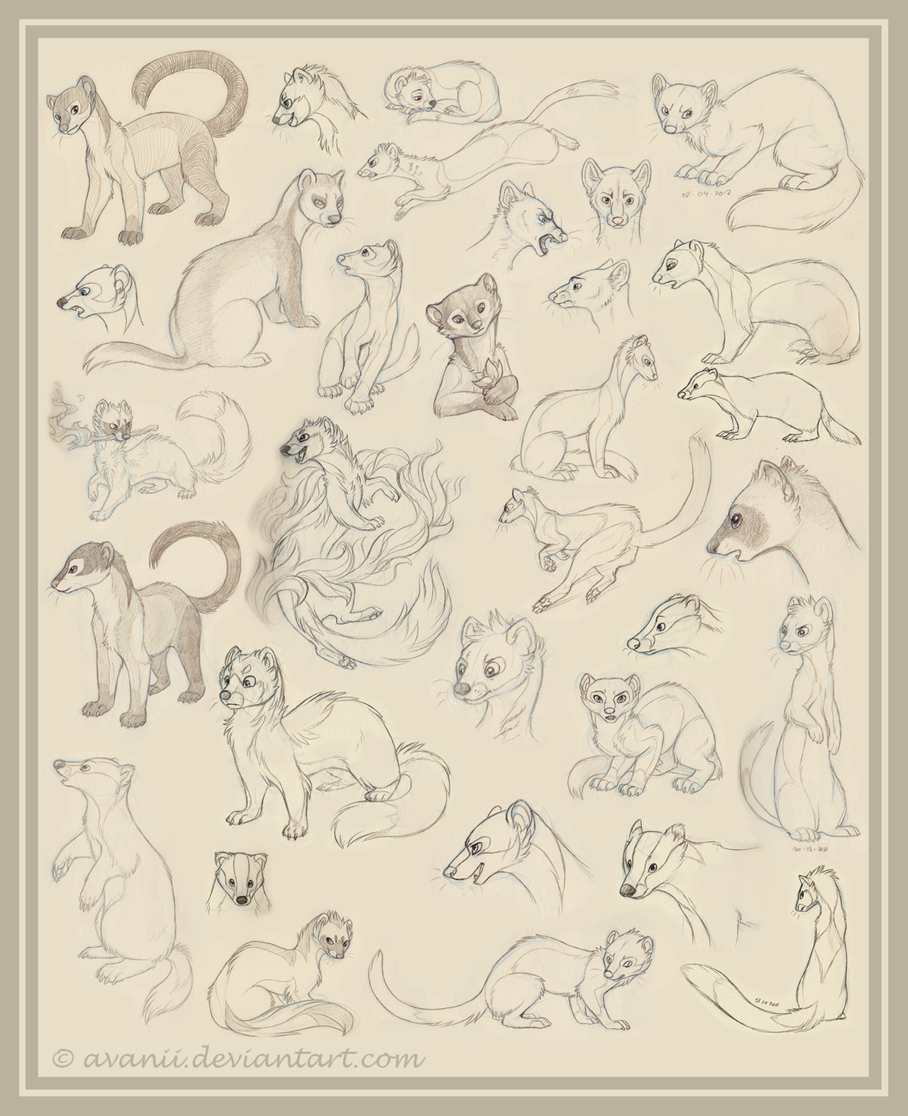 Sketchdump: Mustelids by Avanii
