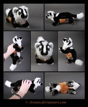 Plushie Commission: Evan the American Badger