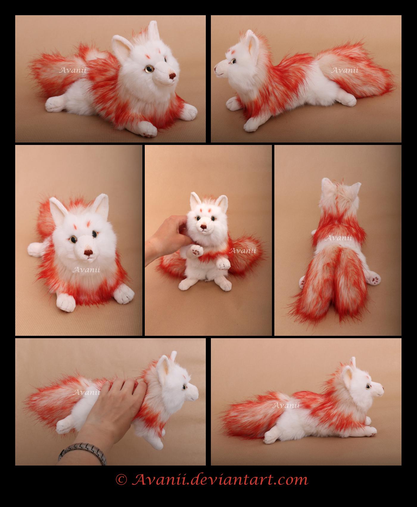 SOLD Plushie: Fire Kitsune by Avanii