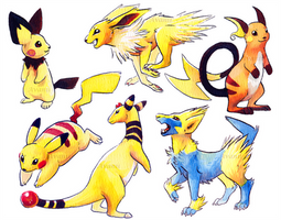 Electric Pokemon Watercolour Stickers by Avanii