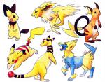 Electric Pokemon Watercolour Stickers