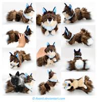 Plushie Commission: Blue-Eyed Kitsune by Avanii