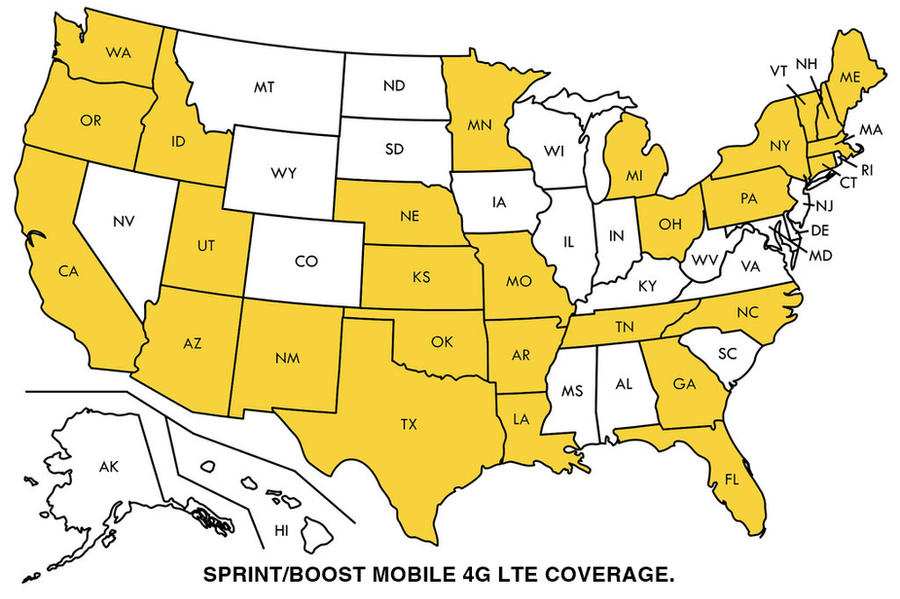 Sprint:Boost Mobile 4G LTE Coverage Map by ChrisSalinas35 on DeviantArt