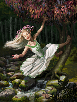 The dryad of the dogwood tree