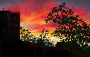 Speed painting - City Sunset by redwattlebird