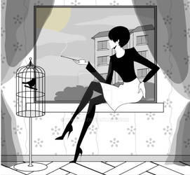 gothic lady smoking