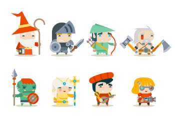 Fantasy RPG Game Concept Art Character Flat Design by Onmioji