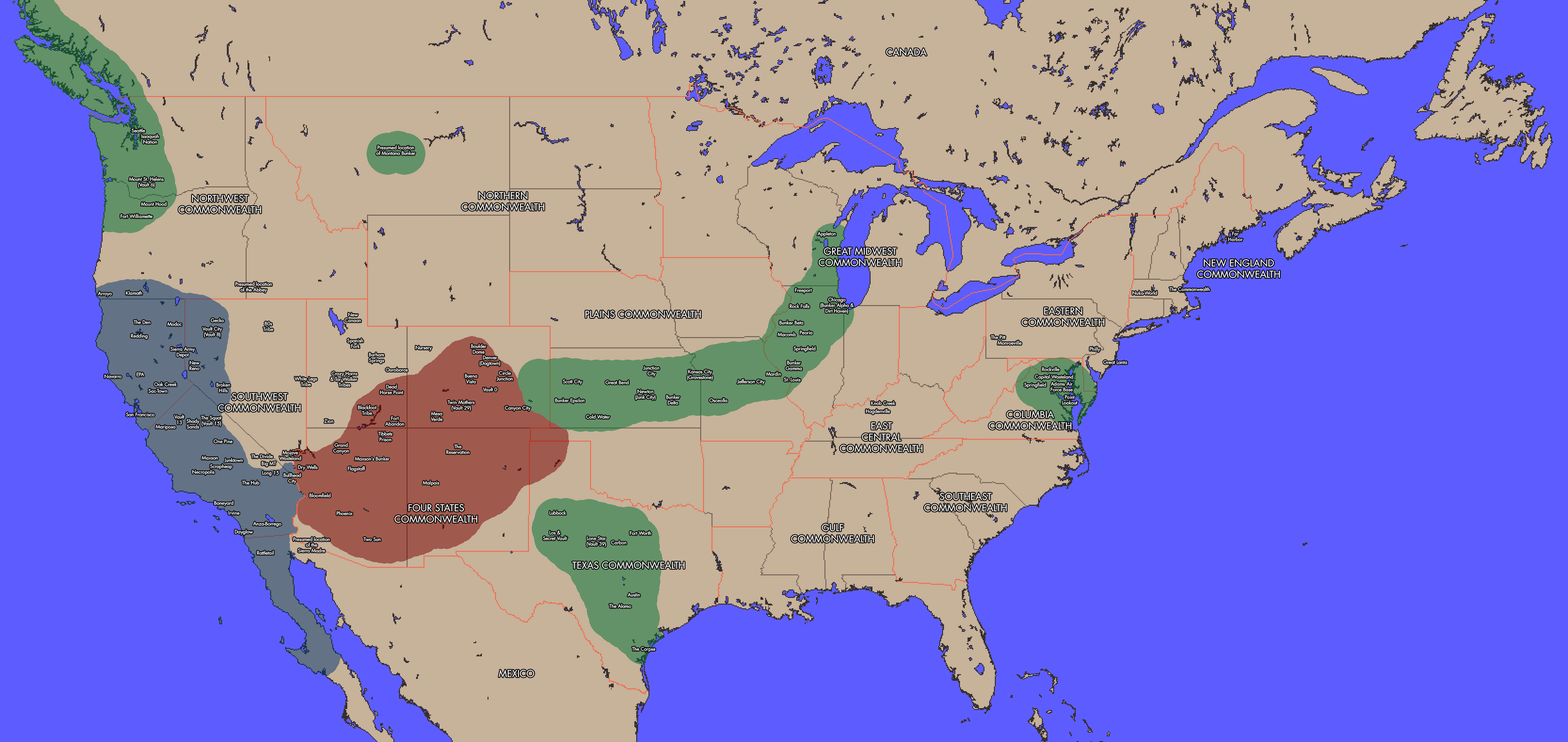 Fallout Map Of Us Fallout   United States Map by AMCAlmaron on DeviantArt
