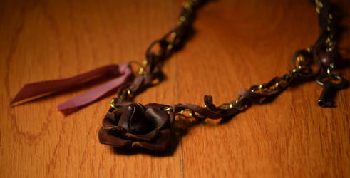 Gold and Leather Flower Necklace