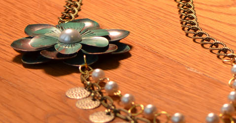 Gold Necklace with Teal Flower