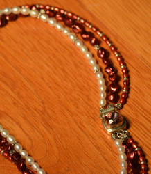 Pearl Necklace Hand made Crystal Clasp
