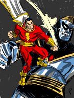 Captain Marvel vs Mr. Atom by jaypiscopo