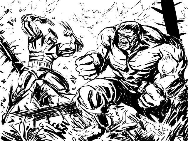 Wolverine vs. Hulk by jaypiscopo