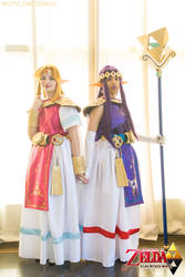 Link Between Worlds Princess Hilda and Zelda by dollphinwing