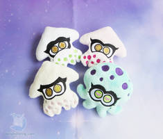Splatoon Inspired Squid Plushies by dollphinwing