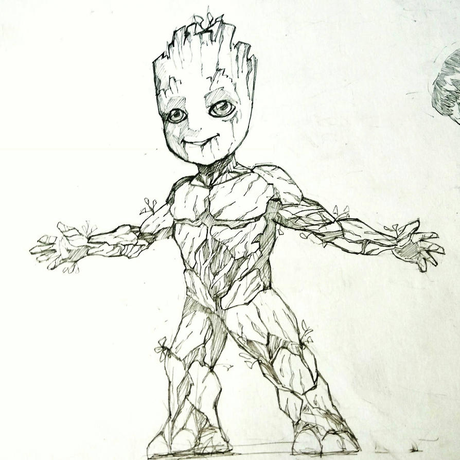 Baby groot by harendraart on deviantart for Groot coloring pages