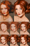 Girl with red hair - Step by step