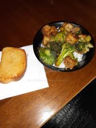 Honey garlic shrimp with broccoli and rice