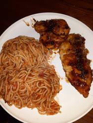 Honey garlic chicken with spaghetti