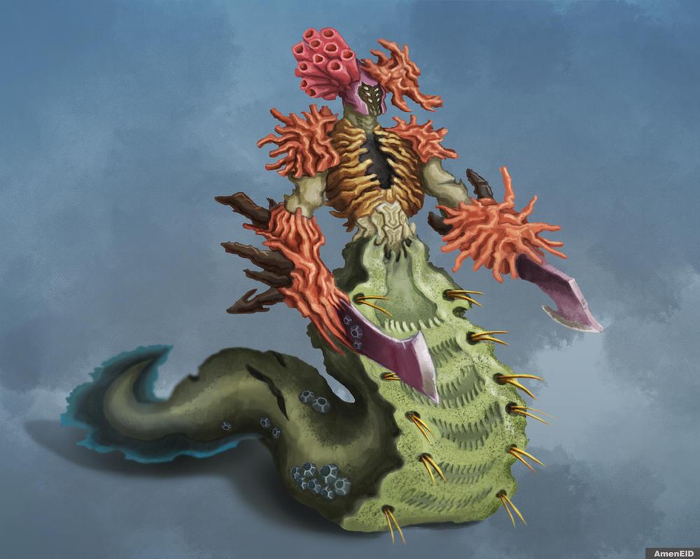 Sea creature warrior by EldarAmenov