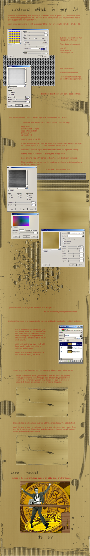 cardboard effect in gimp by istarlome