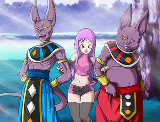 Commission: Beerus, Tenshi and Champa